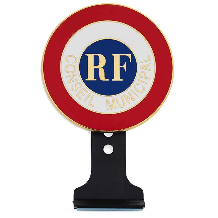 Cocarde métallique Conseil Municipal + RF