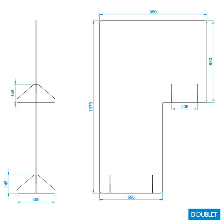 Plan paroi vitrée H. 137 x L. 85 cm