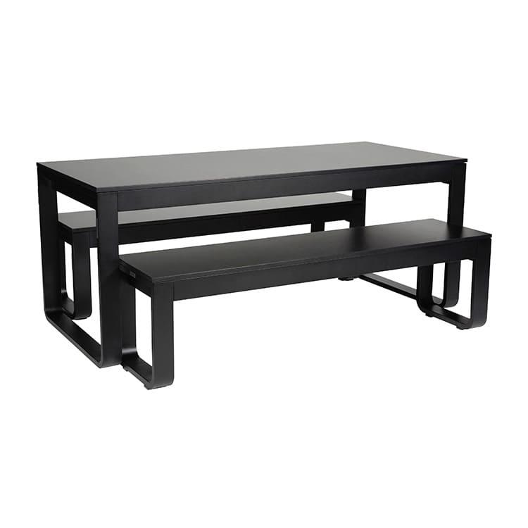 Table pliante + 2 bancs Flow noir – plateau 18 mm
