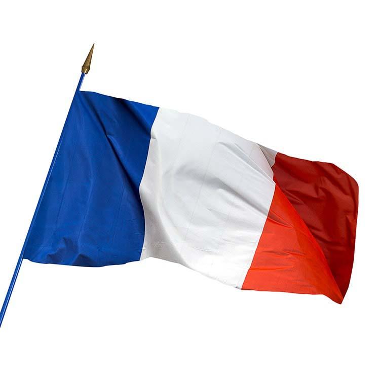 Drapeau de la France sur hampe en bois