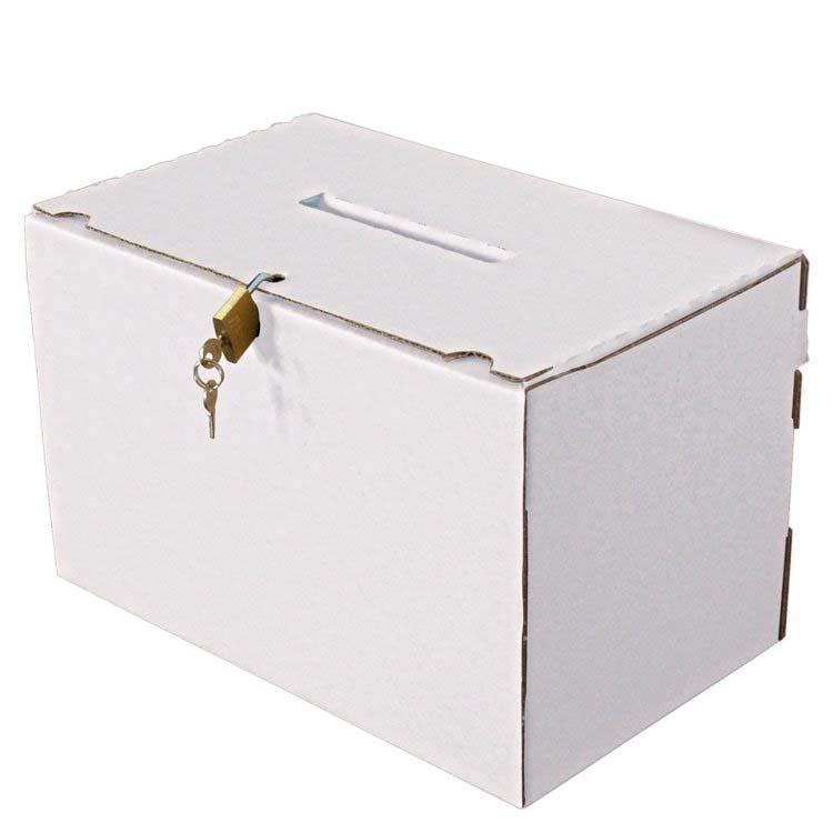 Urne en carton inviolable avec cadenas