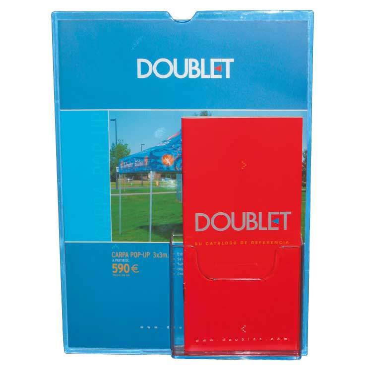 Chevalet porte affiche avec porte brochures doublet