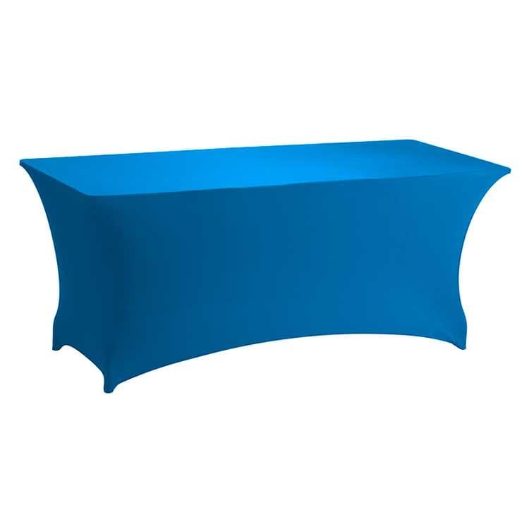 Housse stretch turquoise pour table pliante rect. 183 x 76 cm