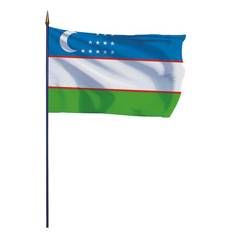 Drapeau Ouzbékistan sur hampe