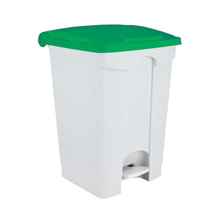 Conteneur à pédale avec couvercle coloré vert