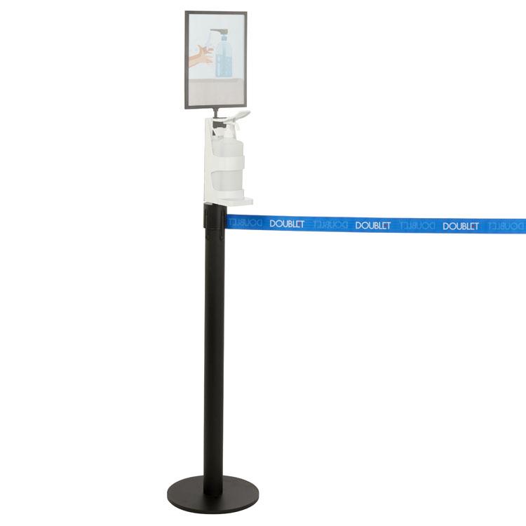 Distributeur de gel rechargeable pour poteau de guidage + porte-document A4