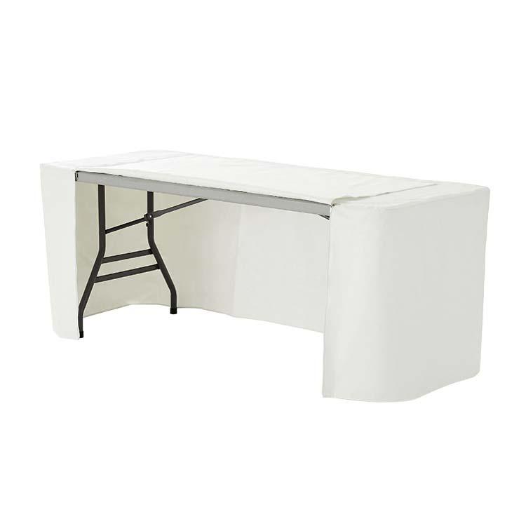 Nappe rectangulaire personnalisée avec 2 zips qui recouvre totalement la table