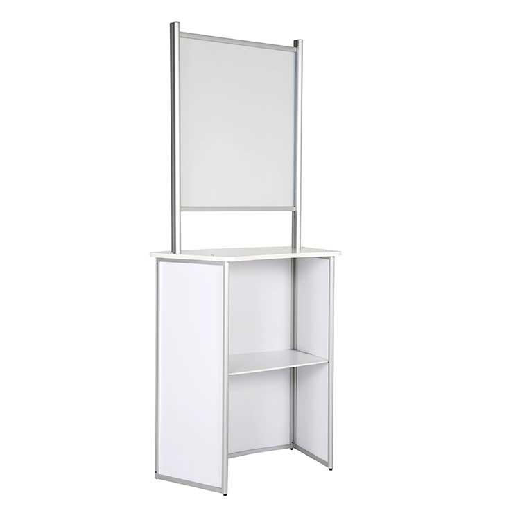 Comptoir d'accueil avec vitre de protection PVC blanc