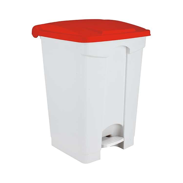 Conteneur à pédale blanc 45 litres - couvercle rouge
