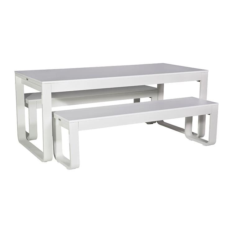 Table pliante + 2 bancs Flow blanc – plateau 18 mm