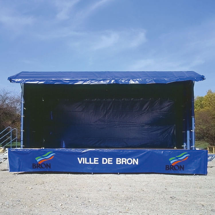 Jupe de podium personnalisée au logo.