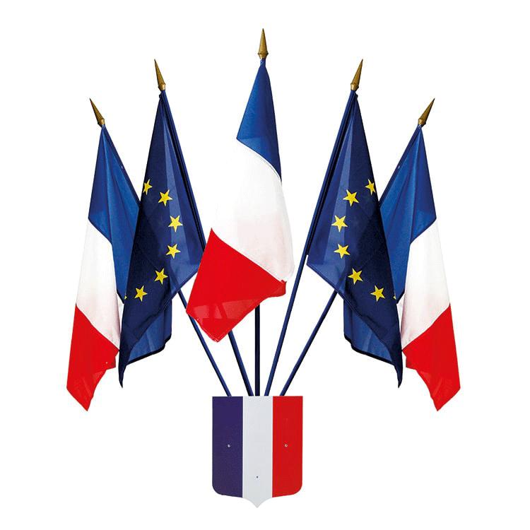 Écusson français tricolore avec cinq drapeaux