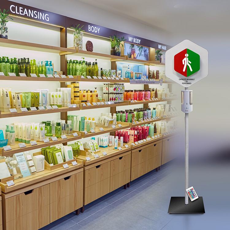 Gestionnaire d'accès sur pied + distributeur de gel hydroalcoolique