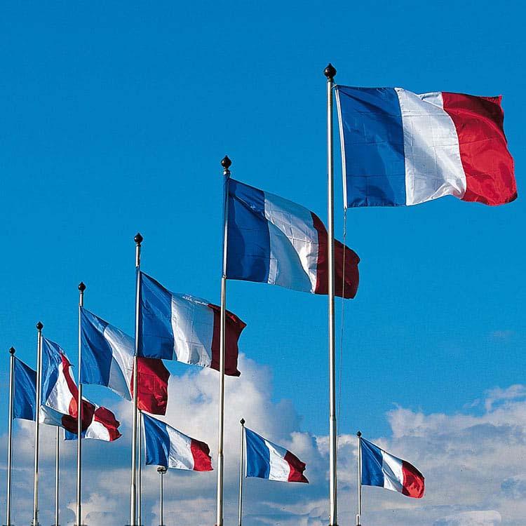 Ensemble de mâts et drapeaux français