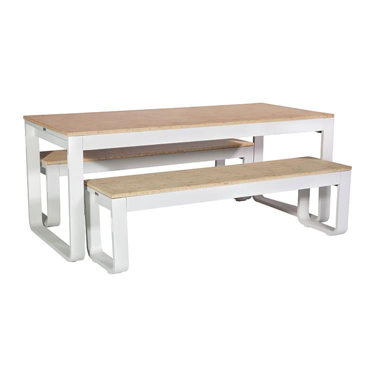 Table pliante + 2 bancs Flow blanc – plateau bamboo 20 mm