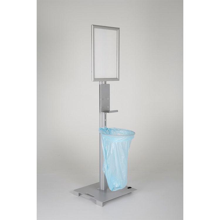 Borne d'hygiène avec porte-affiche + support sac poubelle et gel