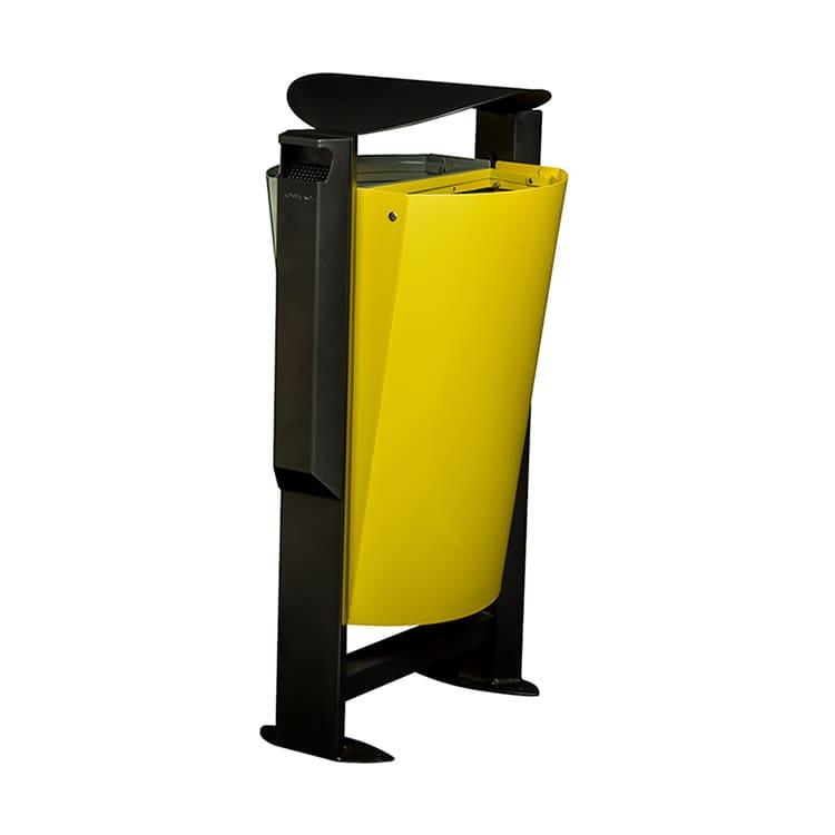 Support sac-poubelle Arkea Métal Jaune/gris - 2 x 60 L + cendrier