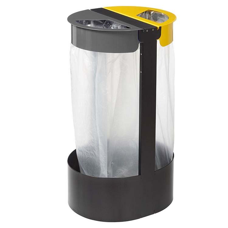 Support sac-poubelle Citwin Premium sur pied gris et jaune