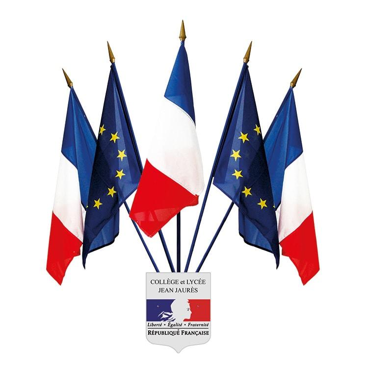 Ecusson porte-drapeau france/europe personnalisé au nom de l'école