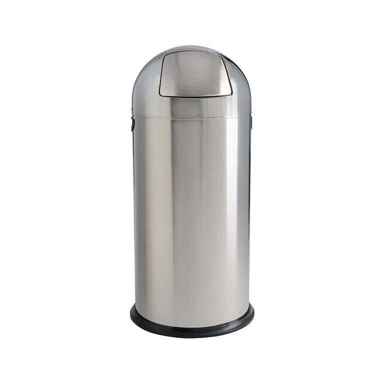 Corbeille à trappe Saturn Inox brillant - 52 litres
