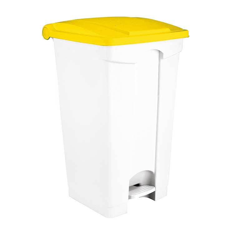 Conteneur à pédale blanc 90 litres - couvercle jaune